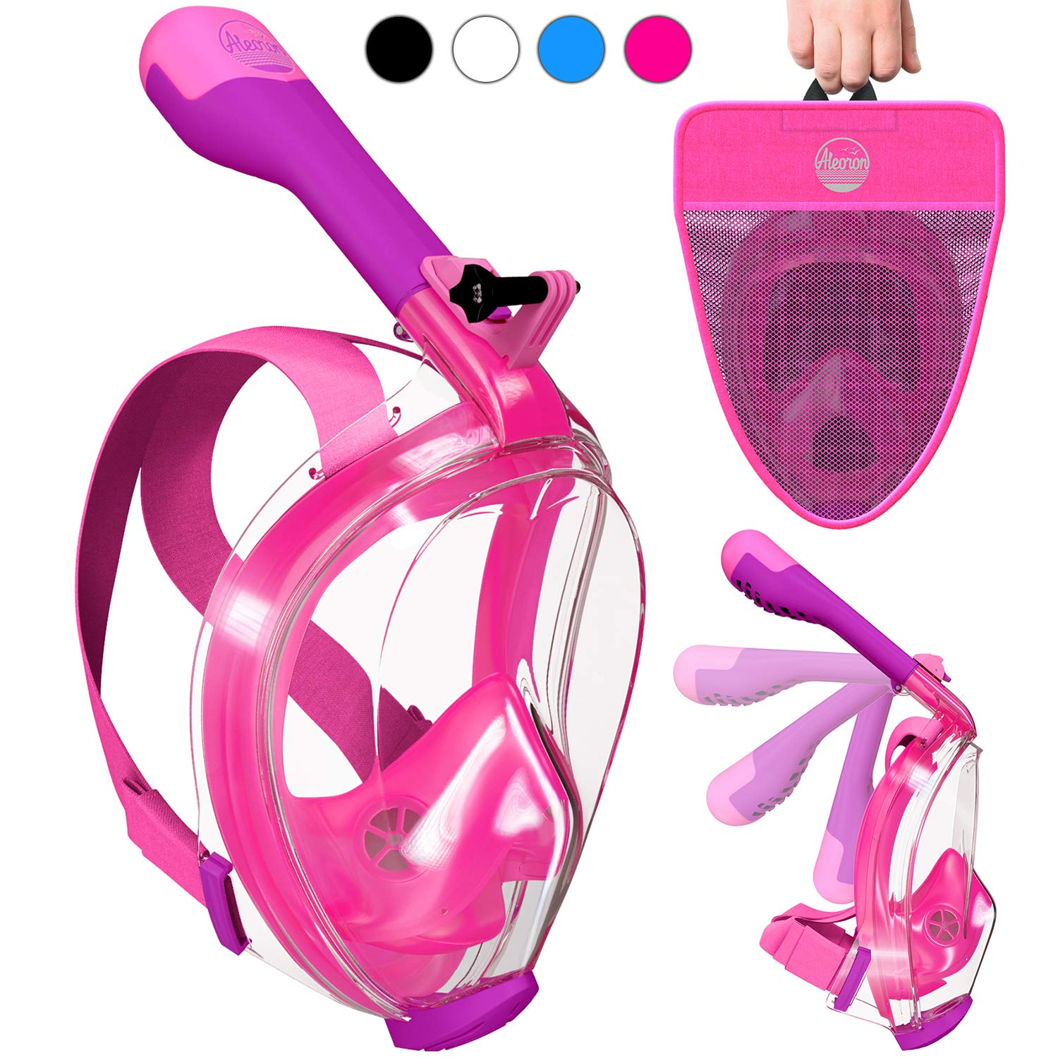 Aleoron - Foldable Full Face Snorkel Mask for Adults and Youth (Women & Men) - Anti Fog Full Face Snorkeling Mask with Action Camera Mount - Dive Mask UV Panoramic 180 Seaview Diving Mask Set by Aleoron