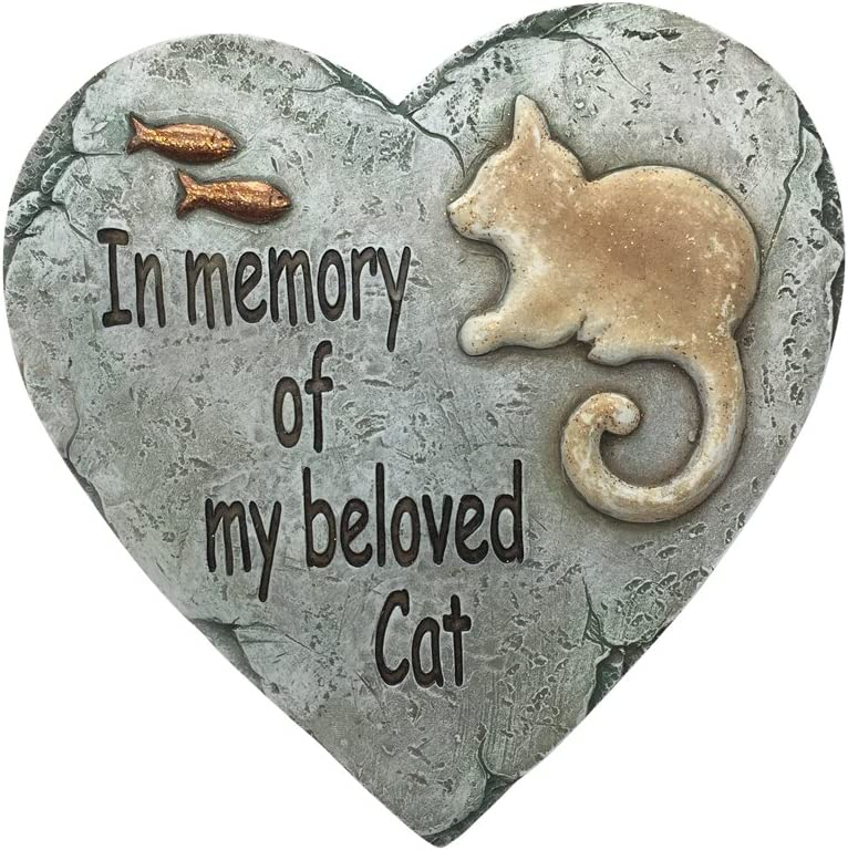Comfy Hour Resin Heart Garden Stone Cat and Fishes Pattern Not for Stepping, Optionally Wall Decoration, Green