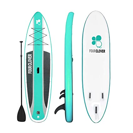 FOUR CLOVER Inflatable Stand Up Paddle Board Universal SUP 6 inches Thick, Wide Stance w/Bottom Fin for Paddling and Surf Control for Youth and Adult ...
