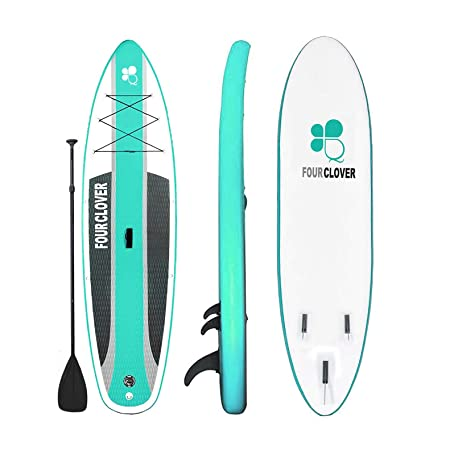 FOUR CLOVER Inflatable Stand Up Paddle Board Universal SUP 6 inches Thick, Wide Stance w Bottom Fin for Paddling and Surf Control for Youth and Adult Surfing Water Sports