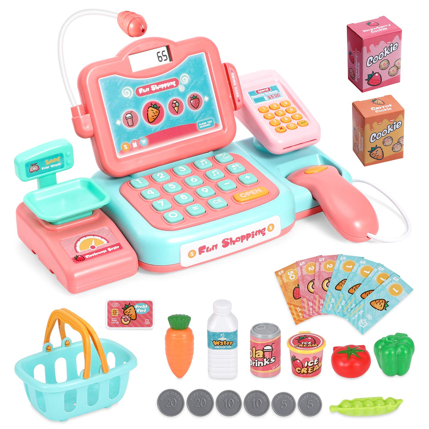Chuntianli Durable Cash Register Toy-Pretend Play Educational Toy Cash Register with Scanner, Sound, Music, Microphone, Calculator, Play Money & Grocery Toy for Kids, Toddlers & Preschoolers by Chuntianli
