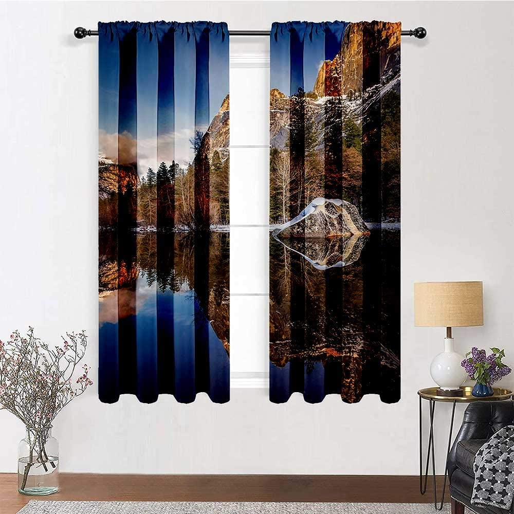 Room Darkening Curtain Room Darken curtains Yosemite Mirror Lake and Mountain Reflection on Water Sunset Evening View Picture Home/Office Artistic Décor 2 Rod Pocket Panels, 42