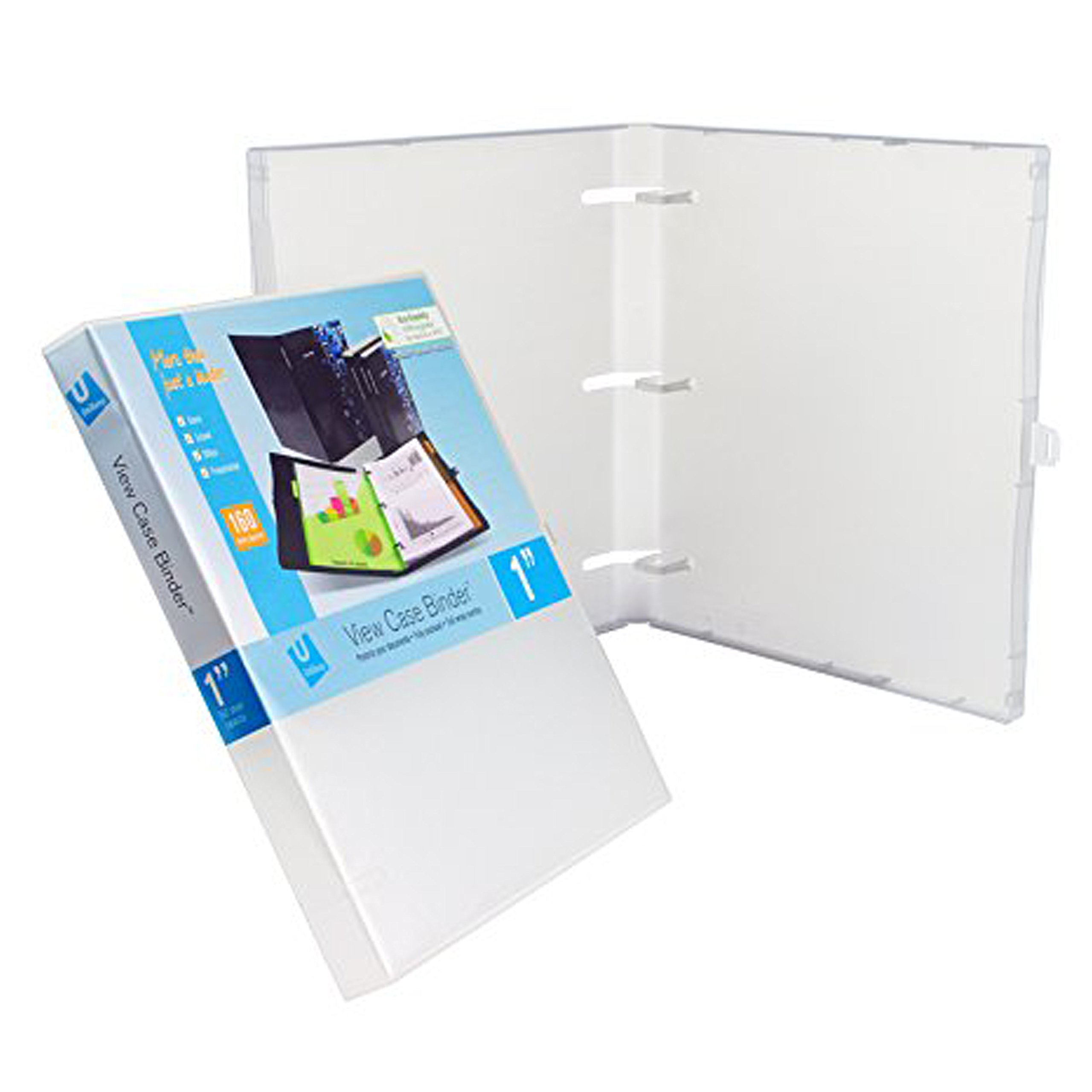UniKeep 3 Ring Binder - Clear - Case View Binder - 1.0 Inch Spine - with Clear Outer Overlay - Box of 20 Binders by UniKeep