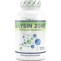 Vit4ever® L-Lysin 2000 - 360 Tabletten - 2000 mg pro Tagesportion - Vegan - Laborgeprüft - L-Lysine Aminosäure hochdosiert mit 1000 mg pro Tablette