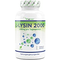 L-Lysin 2000, 360 Tabletten, 2000 mg pro Tagesportion, Vegan, L-Lysine Aminosäure hochdosiert mit 1000 mg pro Tablette, Vit4ever