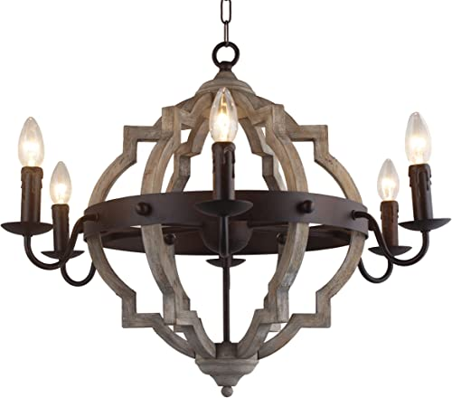 26 in. W. Transitional 6-Light Hall or Foyer Light Fixture Stardust Finish Wood Metal Chandelier Industrial Farmhouse Open Frame Wine Barrel Quatrefoil Wooden Chandelier