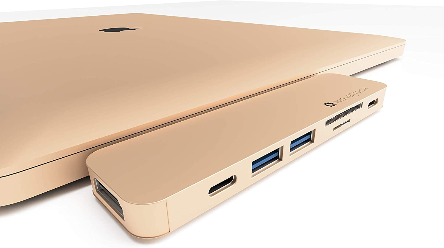 NOV8Tech USB-C Hub Docking Station for MacBook Pro 2019-16 and MacBook Air 2019-18 7 in 2, 4K HDMI, Thunderbolt 3 100W PD Charger 40GBps Data, 2xUSB 3.0, USB 3.1 C 5GBps (Gold)