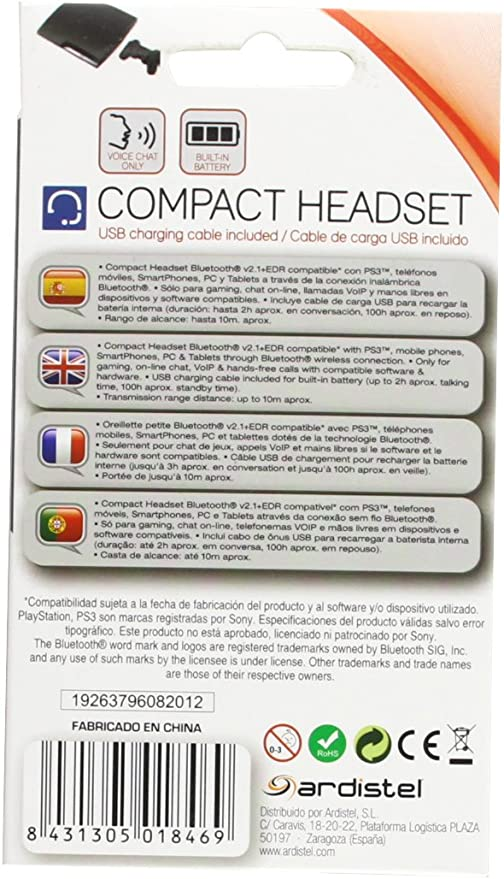 Ardistel - Headset Bluetooth Mini (PS3): Amazon.es: Videojuegos