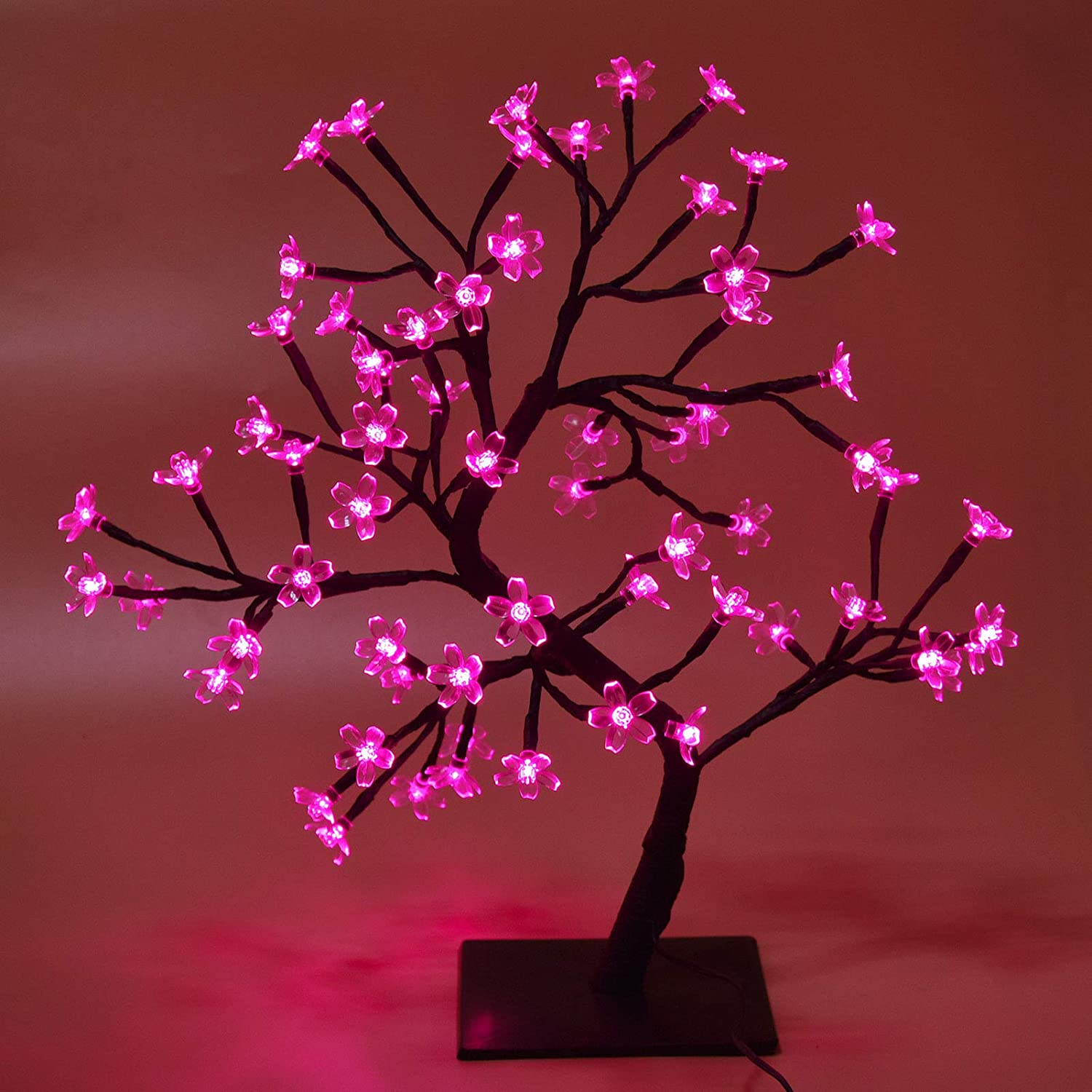 18 Inch Cherry Blossom Artificial Tree with 64-LED Lights, 24V UL Certified Plug-in Adapter (Included), Japanese Bedroom Table Kawaii Decor, House Wall Decorations for Living Room (Pink)
