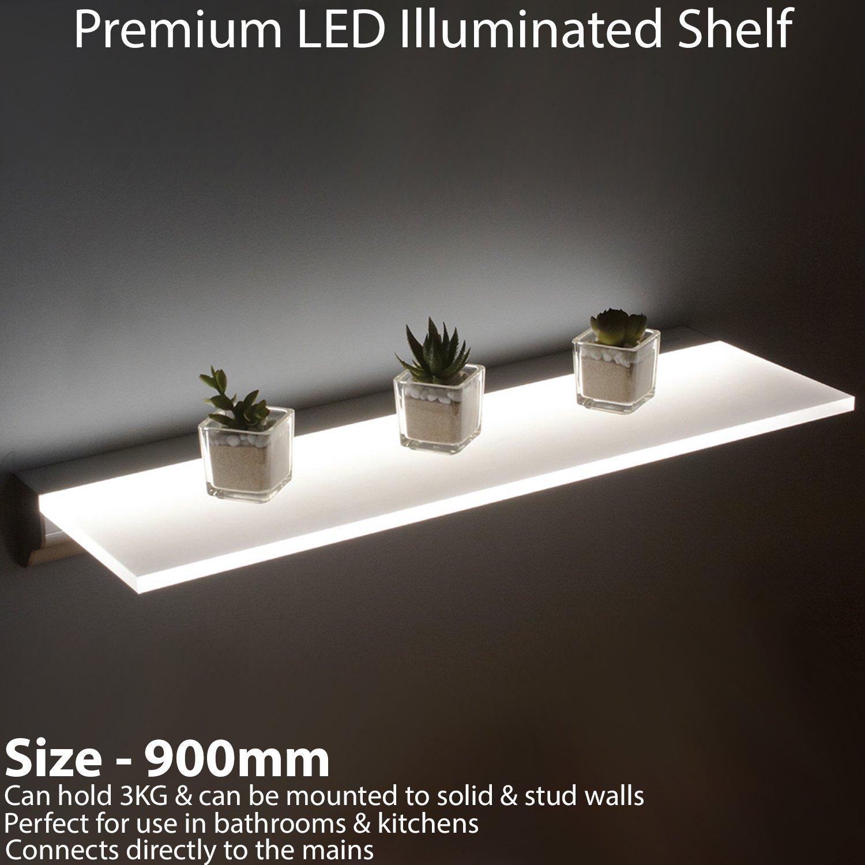 900 mm beleuchtet LED Schwimmende Badezimmer/Küche/Bar Regal ...