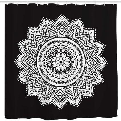 BROSHAN Black And White Pattern Shower Curtain FabricBohemian Style Abstract Retro Mandala Flower Decorative