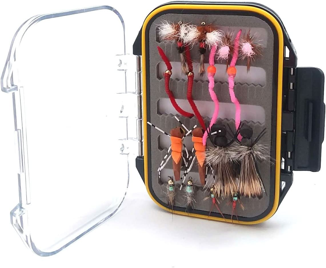 The Fly Fishing Place Gift Set Waterproof Shirtpocket Fly Box with 16 Guides Favorite Trout Fly Fishing Flies Assortment of Dry Flies Nymphs and Hoppers