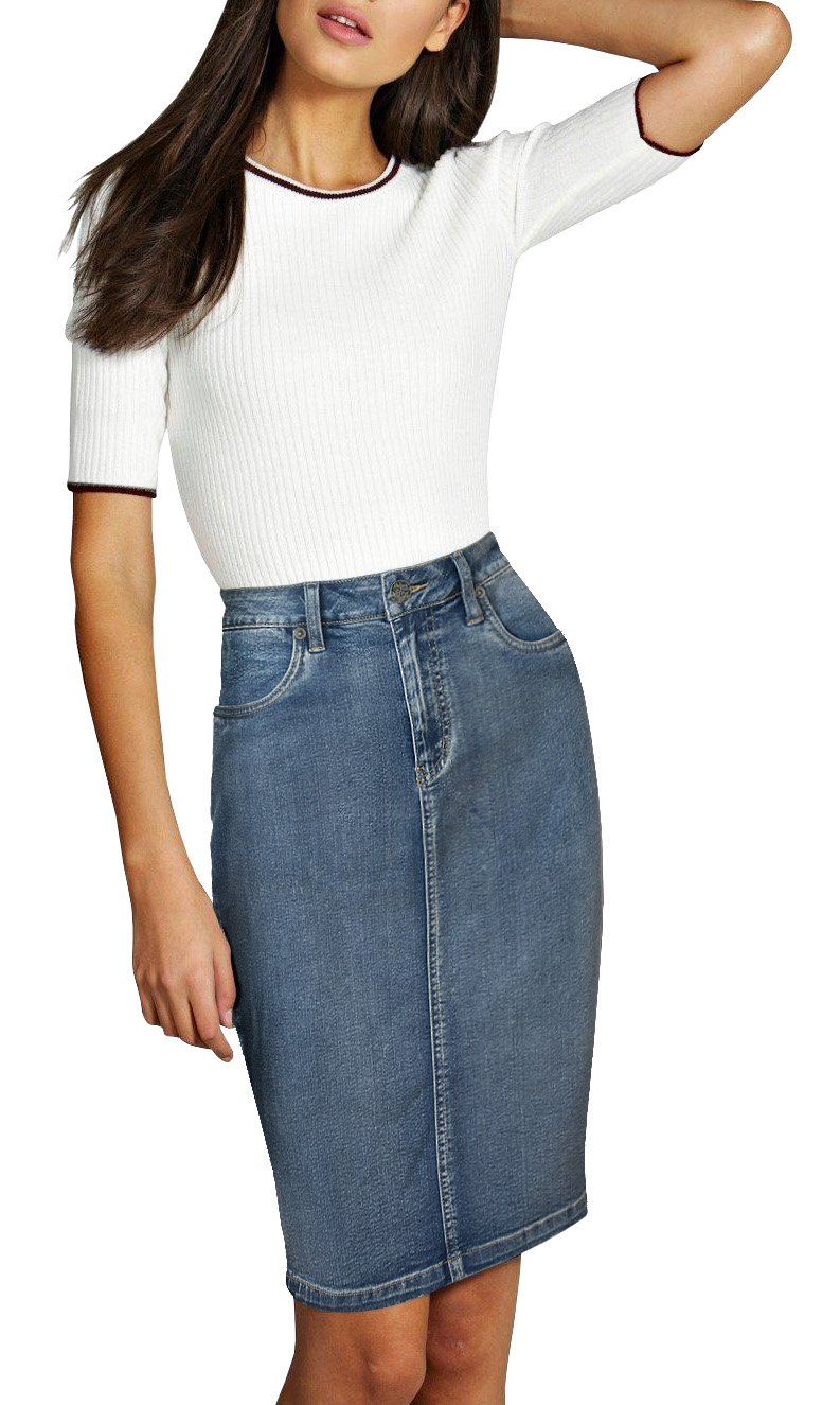 Womens Pull on Stretch Denim Skirt SKS22890 POTASSIUM 6