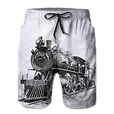 Old Trains Men's Dry Casual Shorts Swim Trunks Fit Performance Board Shorts