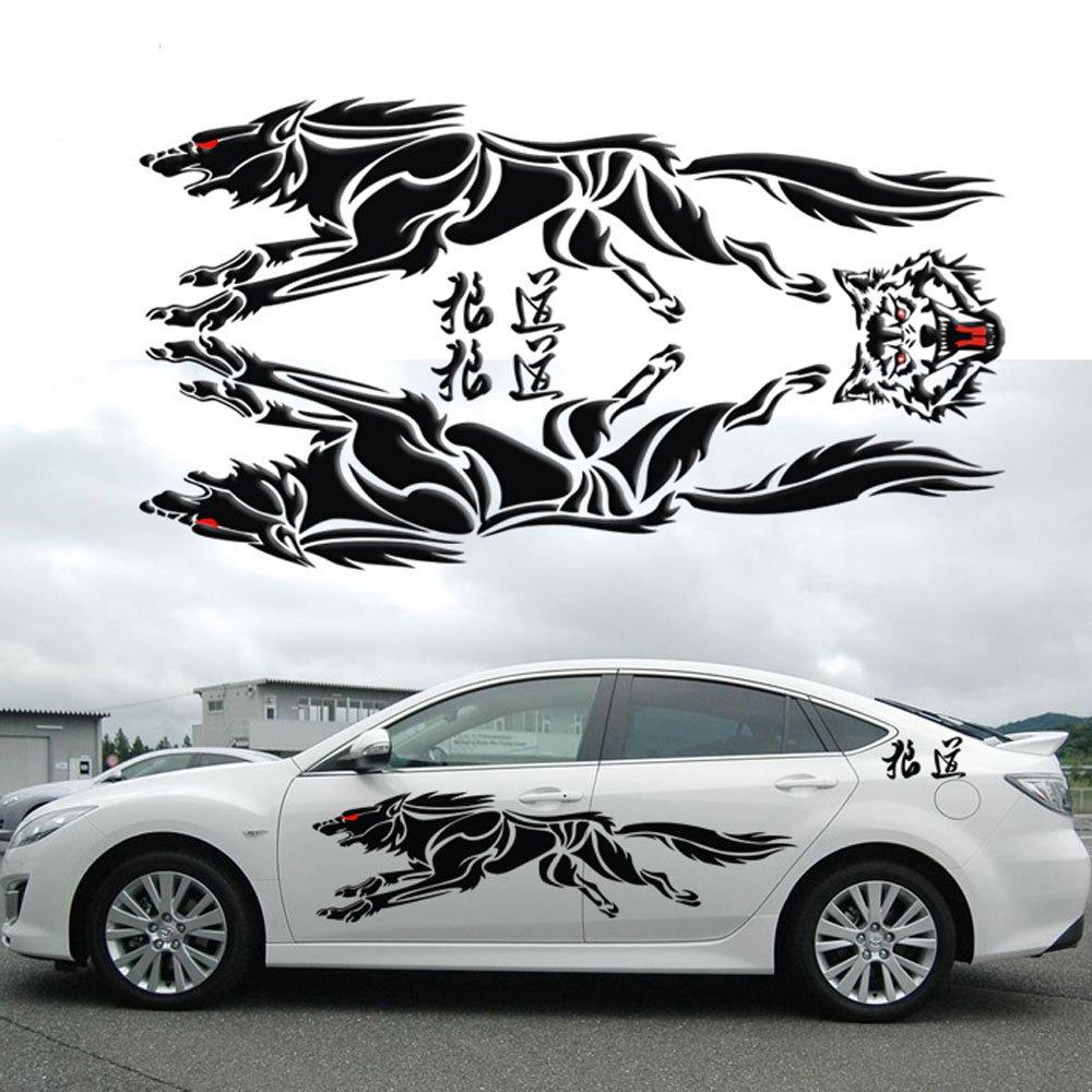 Amazon com xj car styling fiercely wolf totem car sticker auto body side wolf decal emblem vinyl decorative personality sticker black automotive