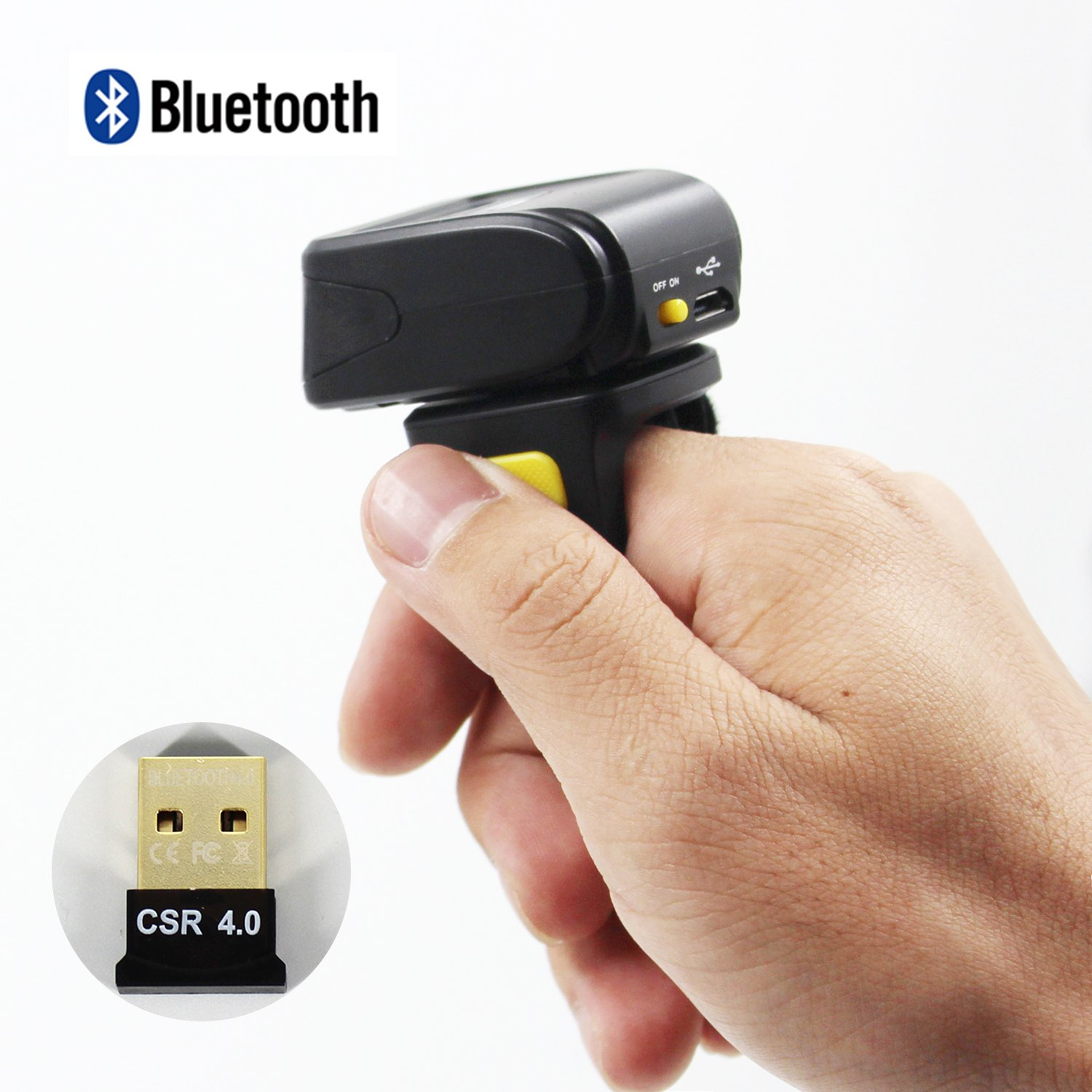 Portable Bluetooth 1D Barcode Scanner,Wearable Ring Wireless Finger Mini Bar Code Reader Compatible for Windows, Mac OS, Android 4.0+, iOS 380mA Battery