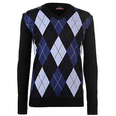 6ce2c315c04 Mens New Season Argyle Knitted Jumper Crew Neck V Neck and Quarter Zip