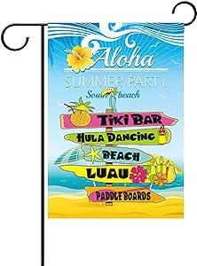 alaza Duble Sided Aloha Travel Hawaiian Beach Party Parrot Sea Umbrellas Hibiscus Polyester Garden Flag Banner 12 x 18 Inch for Outdoor Home Garden Flower Pot Decor