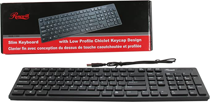 Rosewill Slim Teclado con diseño de Teclado de Goma de Perfil bajo (rikb-11002) Negro