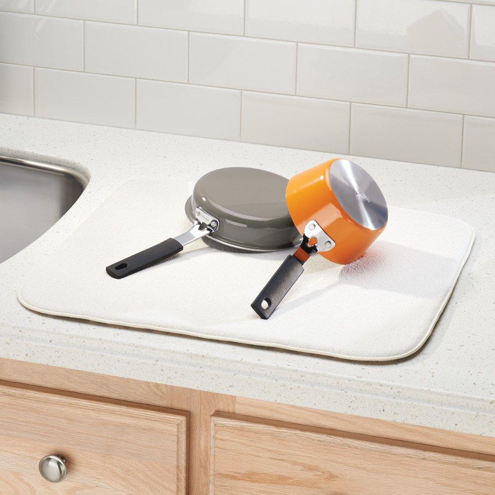 Blanco//Negro Alfombrilla escurreplatos Grande y Gruesa de poli/éster y Microfibra para un Secado de Platos r/ápido InterDesign iDry Tapete de Cocina