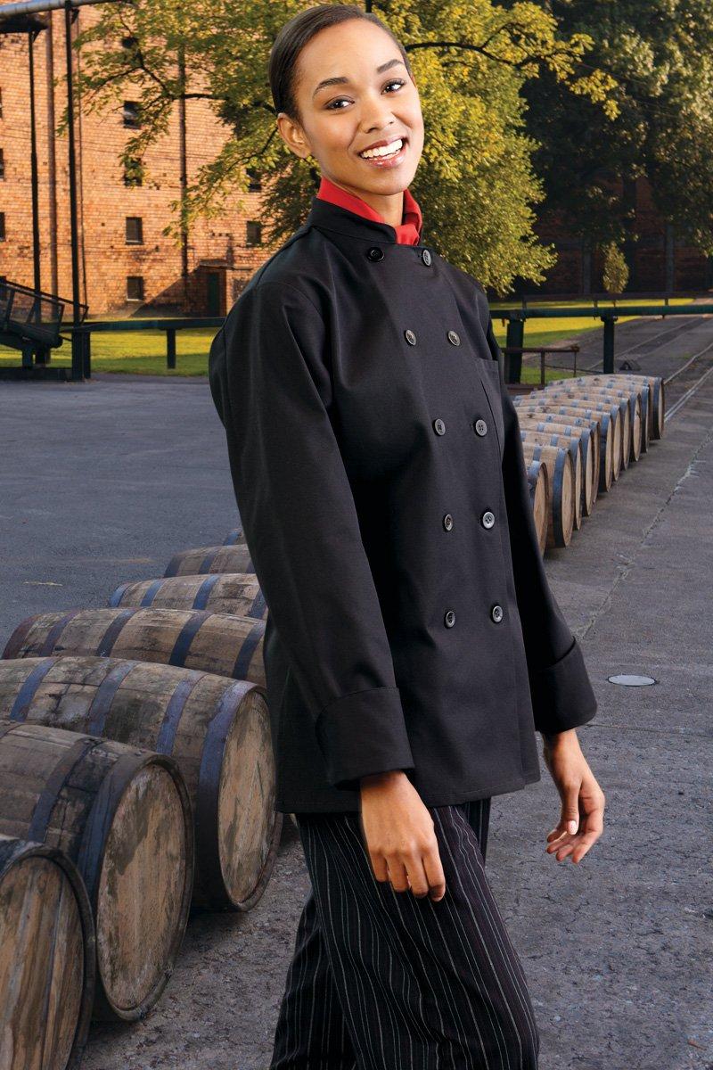 Uncommon Threads Women's Napa Fit Chef Coat, Black, X-Small