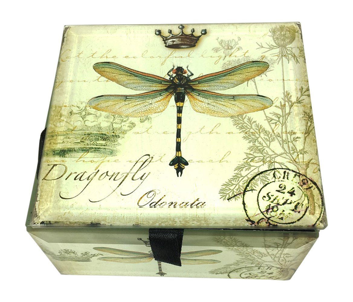 Dragonfly Glass Jewelry Box 4 Square