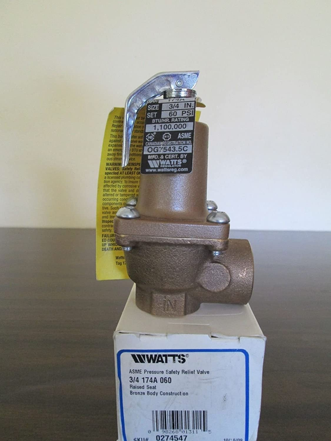 Watts ASME Pressure Safety Relief 0274547 Valve 3//4 174A 060
