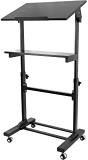 VIVO Height Adjustable Multi Purpose Mobile Podium Lectern And Ergonomic  Standing Desk Station (CART