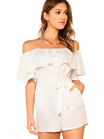 bf426b32109 Romwe Women s Off Shoulder Ruffle Sleeve Short Jumpsuit Rompers with Belt  White X-Small