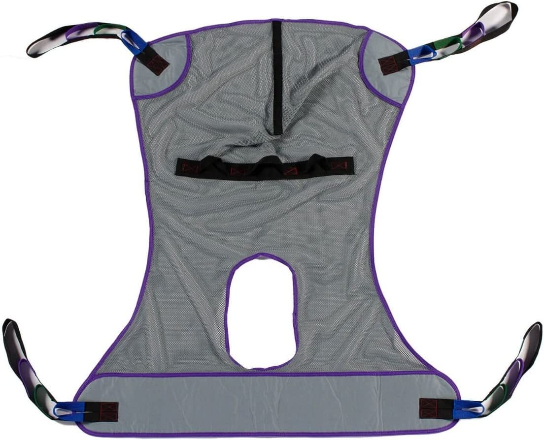 Patient Aid Full Body Mesh Commode Patient Lift Sling, 600lb Weight Capacity (Medium)