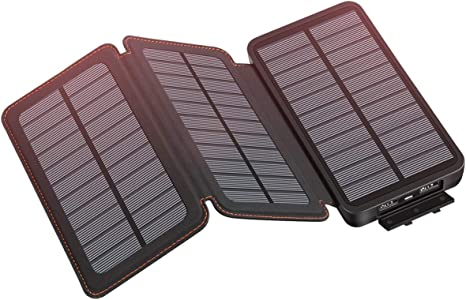 Hiluckey Solar Charger 24000mAh Portable Phone Charger Power Bank with 3 Solar Panels Waterproof External Battery Pack for Smartphones Tablets and