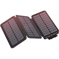 Hiluckey - Cargador solar portátil impermeable 24000 mAh-Negro