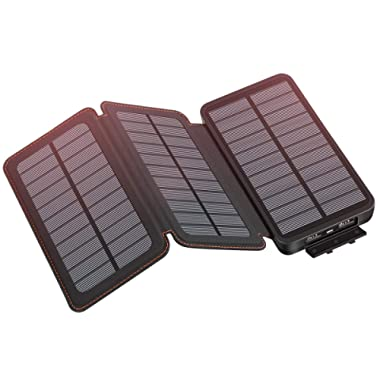Solar Charger 24000mAh, SOARAISE Portable Charger Waterproof Power Bank with Dual USB Outputs SOS Flashlight for Smart Phones, Tablets and More