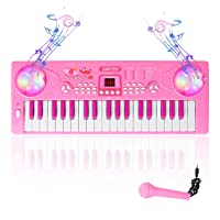 M SANMERSEN Electronic Piano for Kids 37 Keys Kids Piano Keyboard Music Keyboard Piano with Microphone Educational Toy Gifts for Girls Boys Ages 3-6 Years Old (Pink)