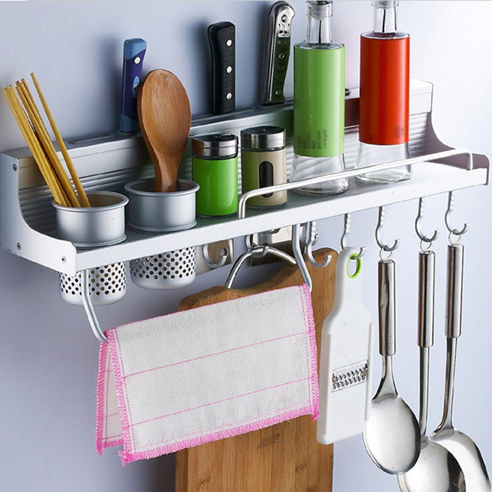 Multifunctional Wall Hanging Kitchen Rack with Shelves, Spice Rack, Bottle Racks, Various Hanger Hooks & Pot Organizers for Kitchen Organization. ENKOUS