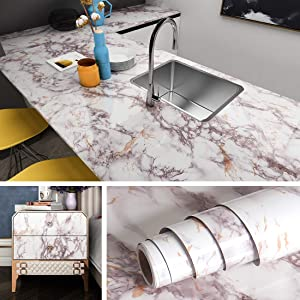 Livelynine Peel and Stick Countertops 15.8 X394 Inch Kitchen Wallpaper Self Adhesive Counter Top Covers Peel and Stick Backsplashes for Kitchen Countertop Marble Paper Removable Waterproof Desk Cover