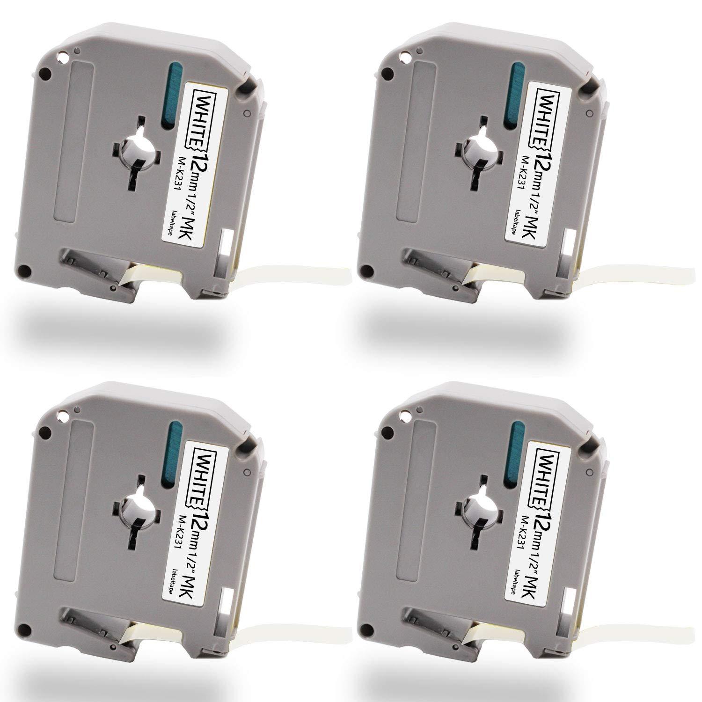 Unismar M-K231 Compatible Brother MK231 MK131 MK431 MK531 MK631 MK731 Label Tape for Brother P-Touch PT-65 PT-70 PT-70SR PT-90 PT-M95 Printer Black on Clear/White/Red/Green/Yellow/Blue - 6 Pack Unismar Tech UMK-131/231/431/531/631/731