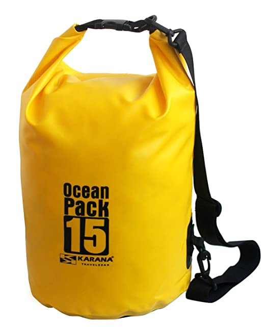 c13984e0a5e Karana Ocean Dry Pack Day Waterproof Travel Kayak Bag 15 Litre 15L Yellow   Amazon.co.uk  Clothing