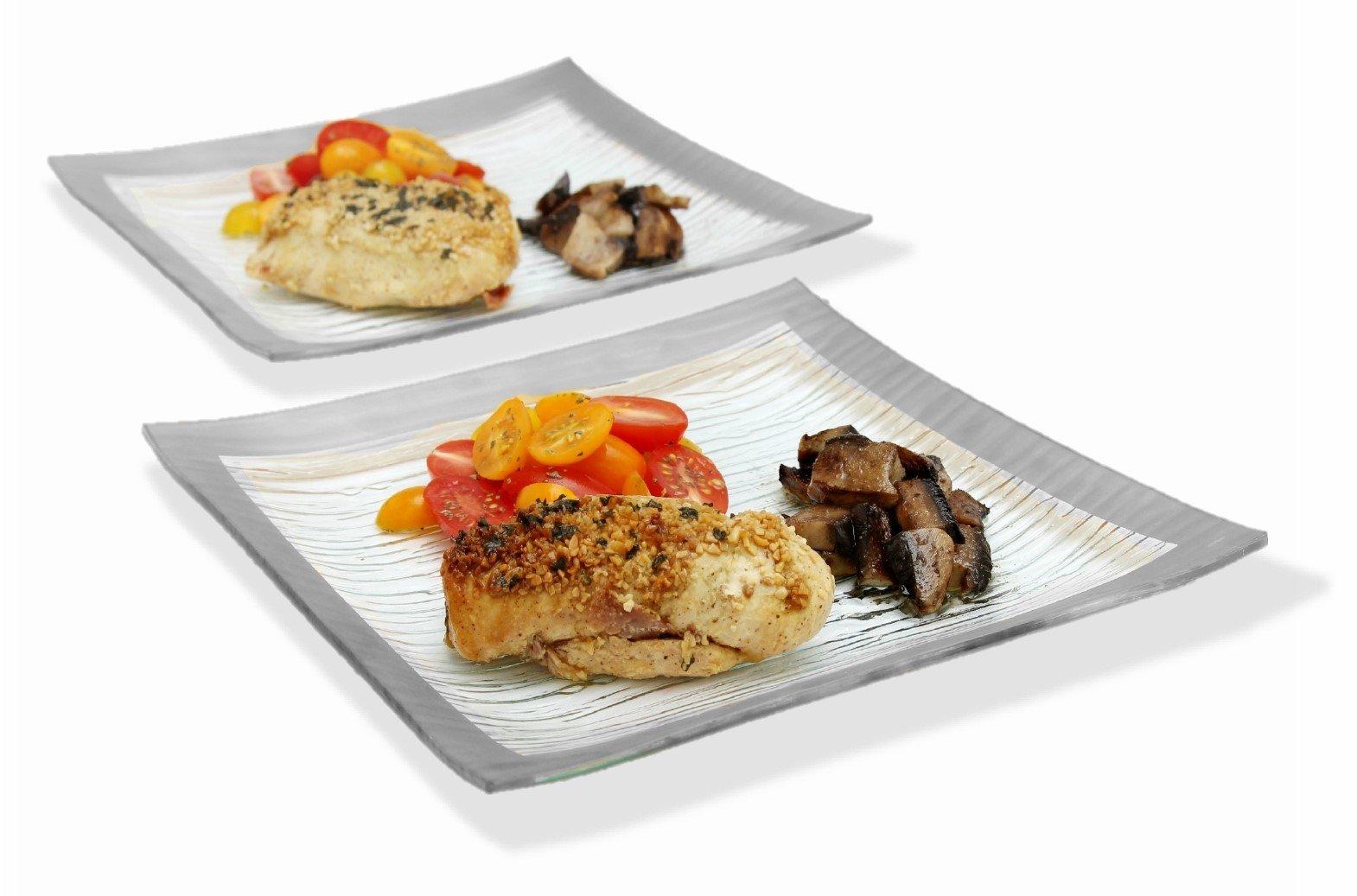 Gac Set Of 4 Elegant Tempered Glass Dinner Plates Square
