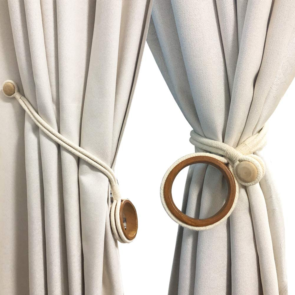 Chictie Nordic Wood Ring Holdback Ropes for Curtain Drapery,Pack of 2 Decorative Magnetic Tiebacks Home Living Bedroom Indoor/Outdoor Use,Durable Natural White Handmade Cords (Magnetic Tiebacks)