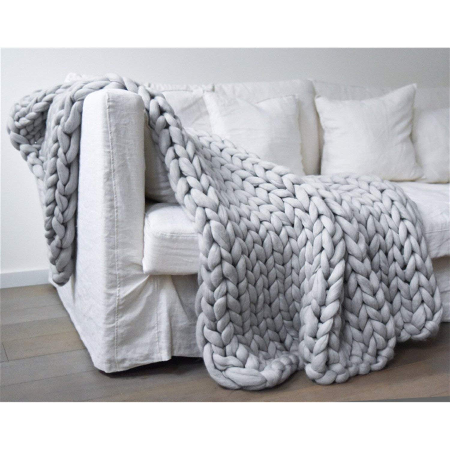 clootess Bulky Chunky Yarn Big Roving Wool for Hand Made Knitted DIY Sofa Bed Throw Blankets Light Grey 8 lbs = 3.6 kg by clootess (Image #5)