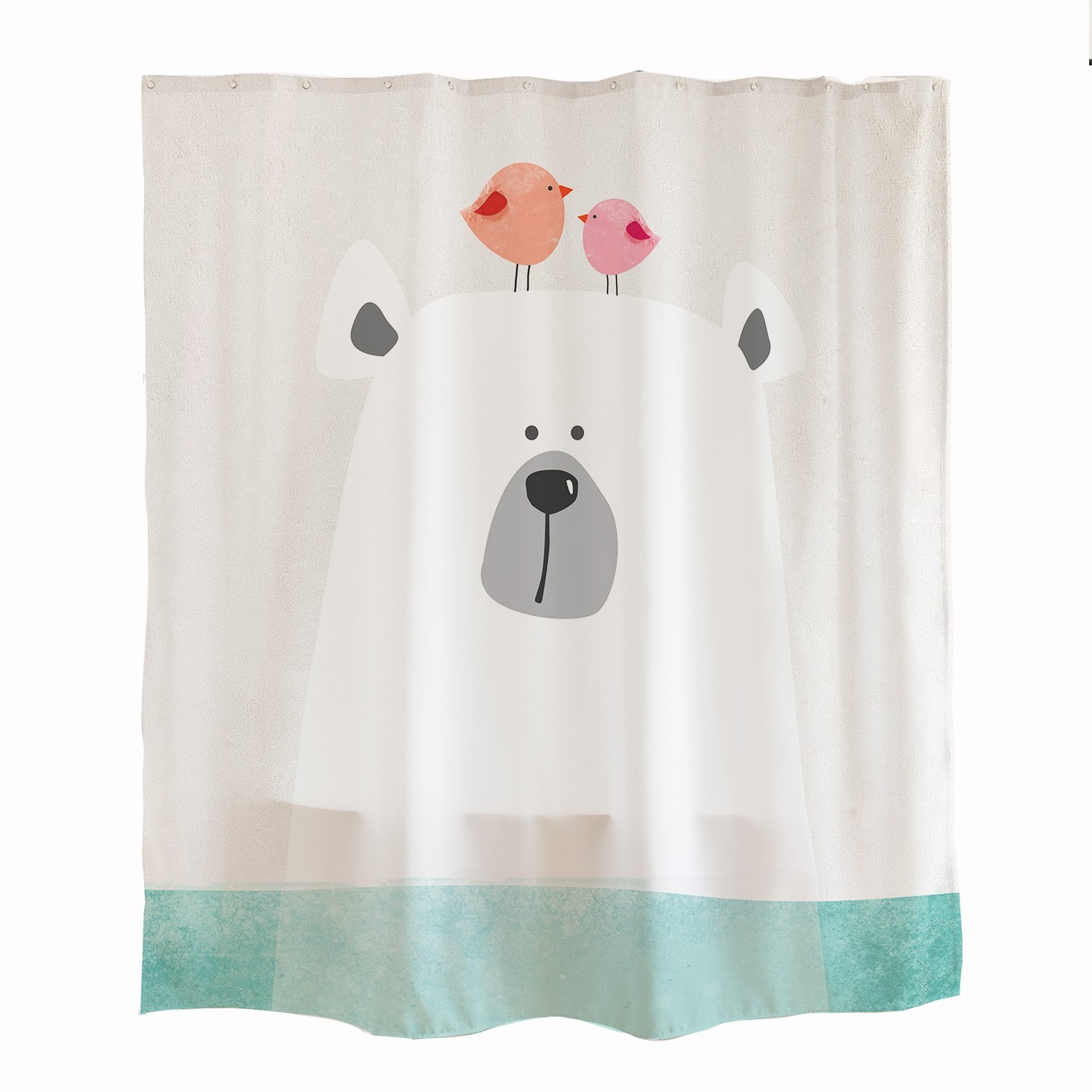 Cartoon Polar Bear in Water Shower Curtain Set with Hooks 71\'\'x71 ...
