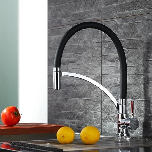 Homelody schwarz Küchenarmatur Wasserhahn Spültischarmatur Mischbatterie Küchen