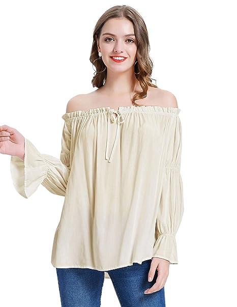 Amazon.com: KANCY KOLE - Blusa sexy con hombros descubiertos ...