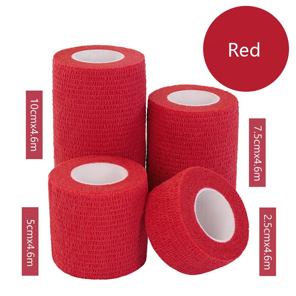 JaneDream Sports Waterproof Breathable Safety Adhesive Flexible Elastic Bandage First Aid Medical Health Care Gauze Protect Finger Wrist Ankle Knees Tape S 2.5cm Red