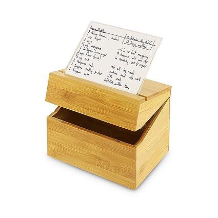 amazon com kovot bamboo recipe box with acrylic recipe card holder