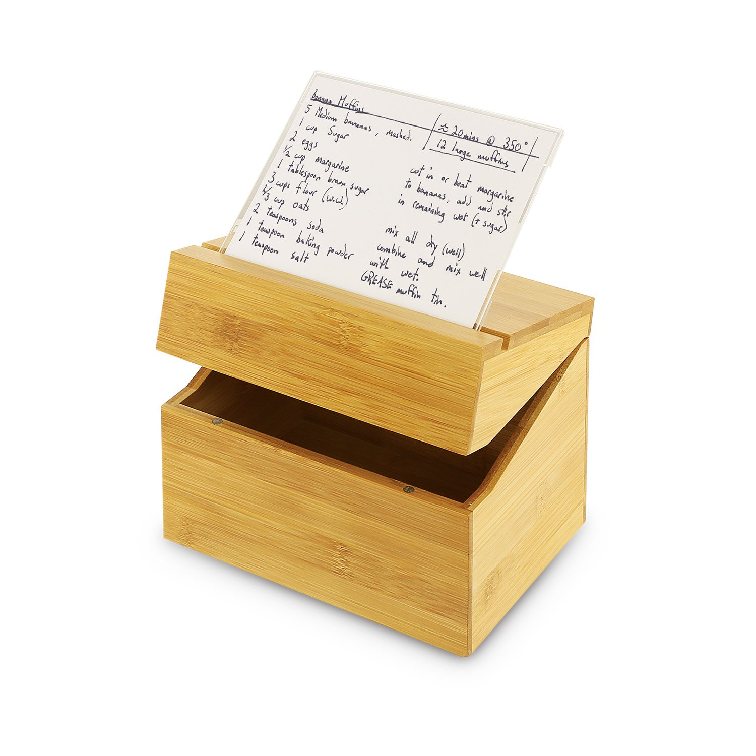 KOVOT Bamboo Recipe Box With Acrylic Recipe Card Holder by Kovot