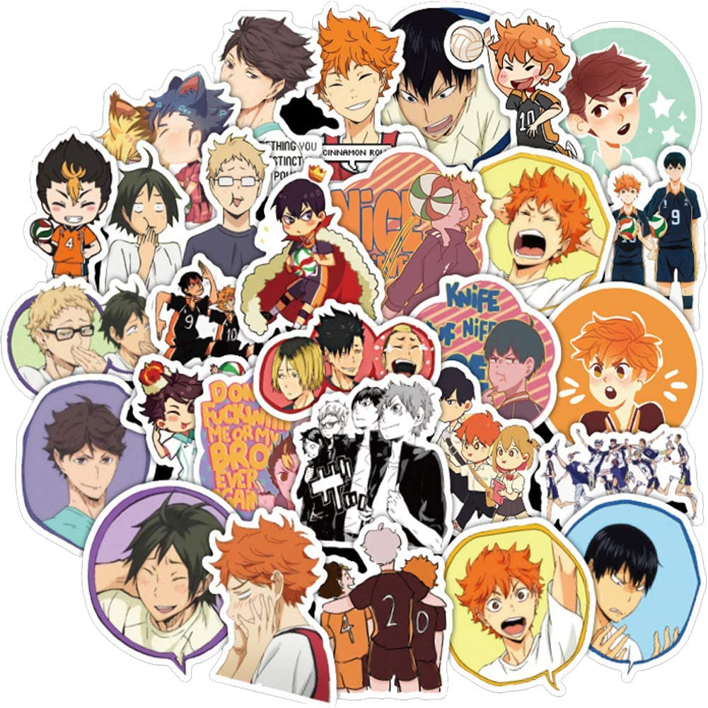 Haikyuu Anime Stickers,50PCS Laptop Stickers, Waterproof Stickers Decal for Water Bottles iPhone MacBook