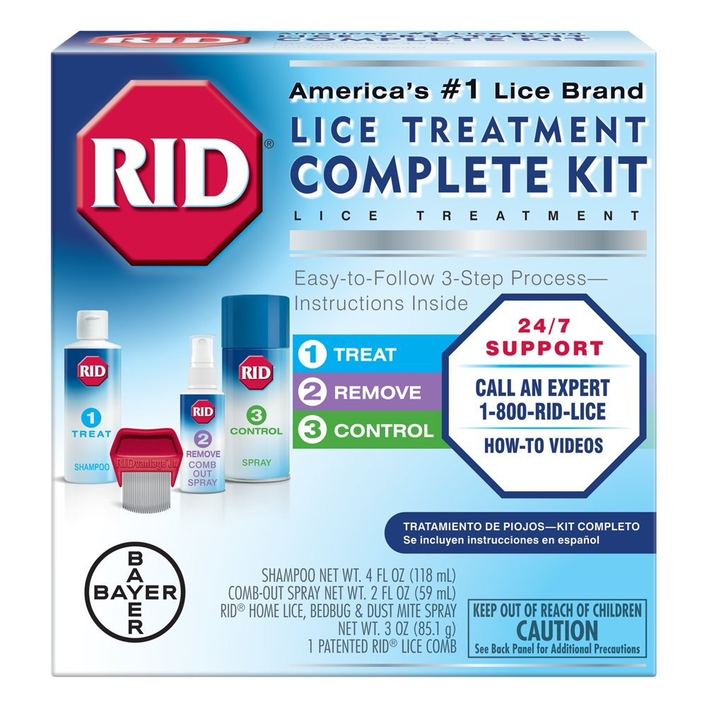 RID Lice Treatment Complete Kit, Includes 4 Fluid Ounces RID Lice Killing Shampoo, 2 Fluid Ounces Lice and Egg Comb-Out Spray, Lice Comb, and 3 Ounces RID Home Lice, Bedbug & Dust Mite Home Spray by Rid (Image #1)