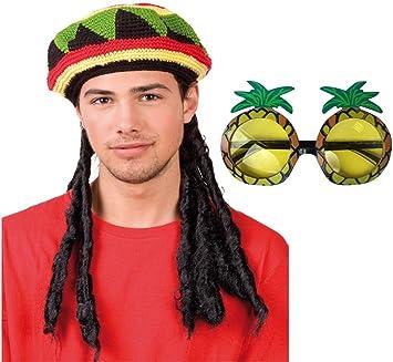 Rasta Caribbean Jamaican Glasses Hat Wig Dreadlocks Hair Bob Marley Fancy Dress